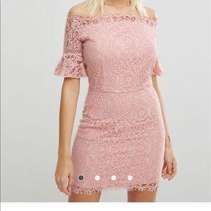 3 for $30 ASOS pink off shoulder lace dress
